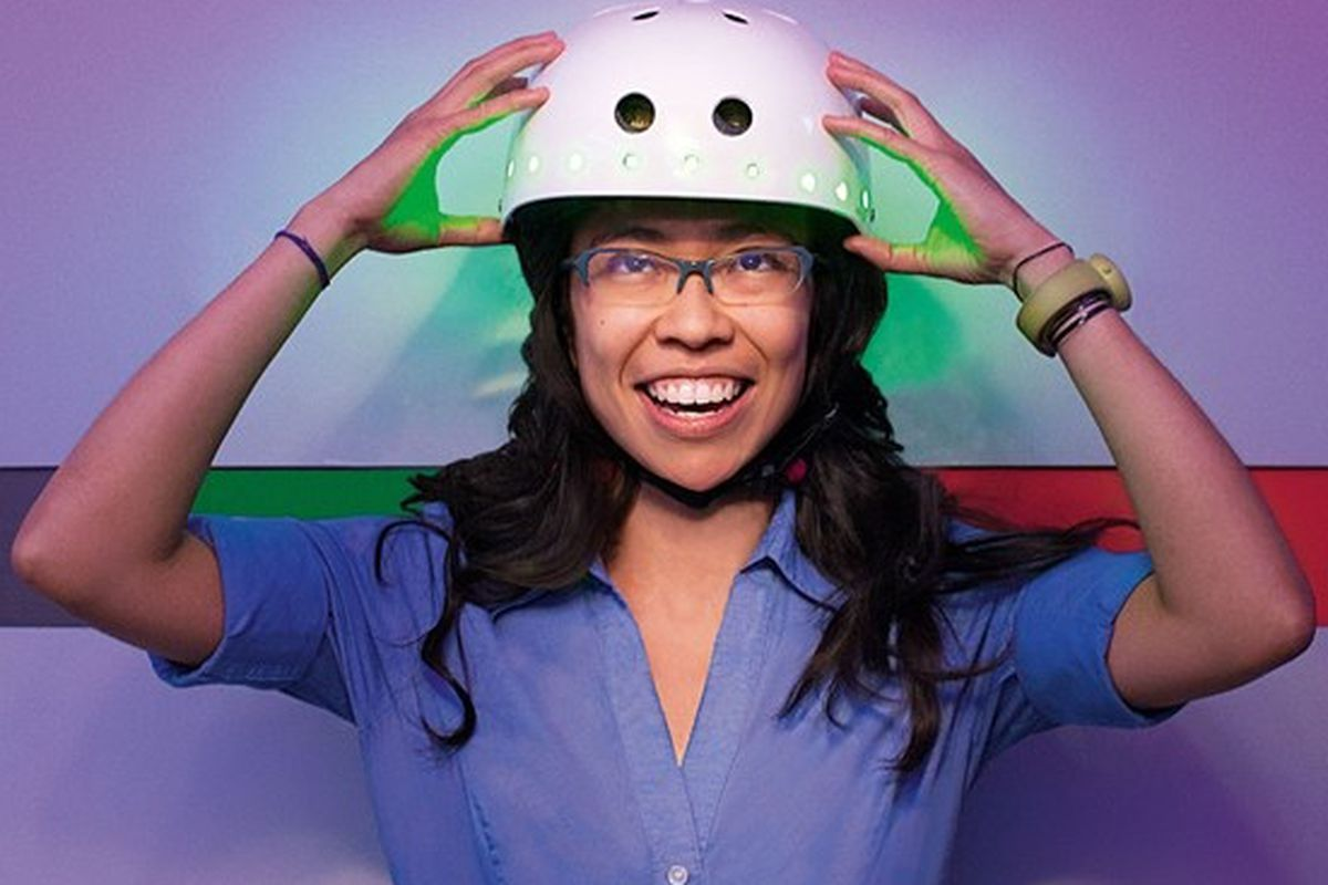 """Happiness in action, via <a href=""""http://www.wired.com/playbook/2012/11/mit-media-lab-bike-helmet/"""">Wired/Spencer Lowell</a>"""