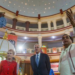 """Elder D. Todd Christofferson, a member of the Quorum of Twelve Apostles for The Church of Jesus Christ of Latter-day Saints, and his wife, Sister Kathy Christofferson, are greeted by Prof. Dr. Vishwanath D. Karad, President, World Peace Centre (Alandi), MAEER""""™s MIT World Peace University, as they arrive at the university prior to attending an  award ceremony in Pune, Maharashtra, India, on August 14, 2017."""