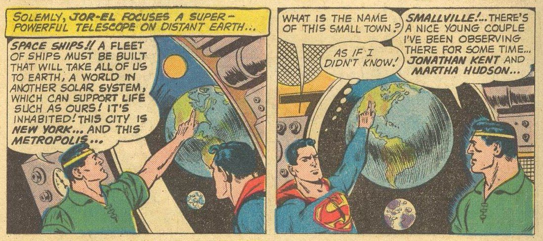 Jor-El shows Superman the observations he's been making of the planet Earth, including of Smallville, Kansas, in Superman #141, DC Comics (1960).