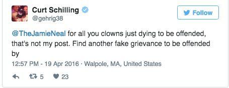 Schilling clown tweet