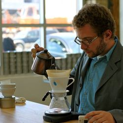 Bennett's favorite tool, a bronze Takahiro kettle, that he used while competing last year in the Brewer's Cup, in Santa Cruz.