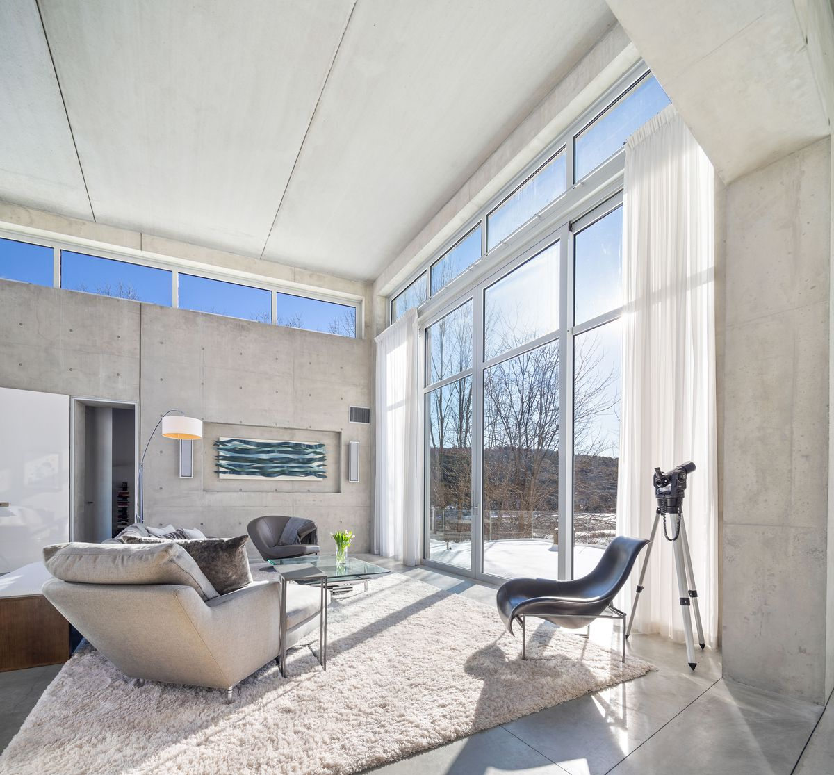A living room has modern furniture on a white rug that faces large windows. The room has tall ceilings and concrete walls.