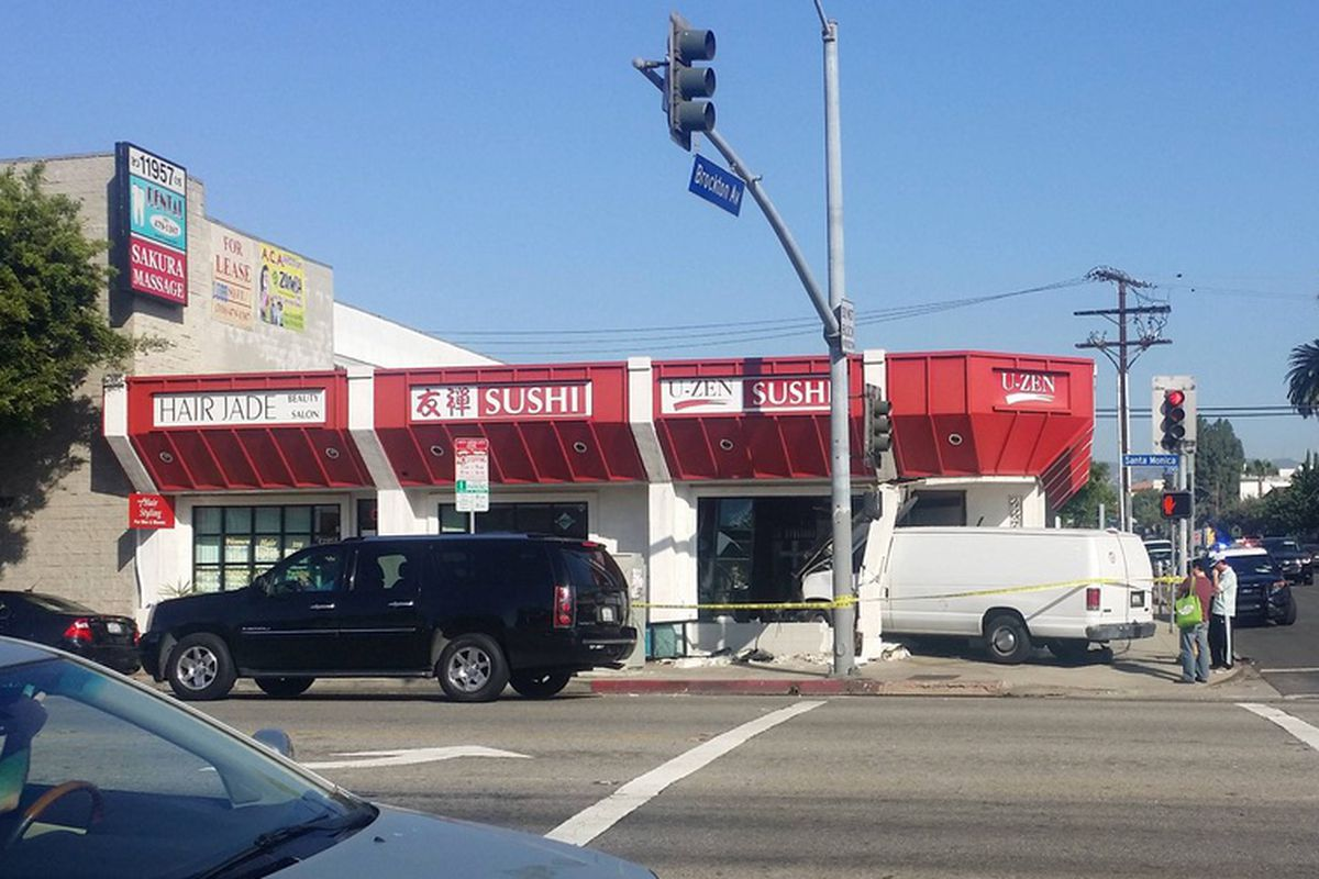 Van crash outside U-Zen Sushi on Santa Monica Blvd.