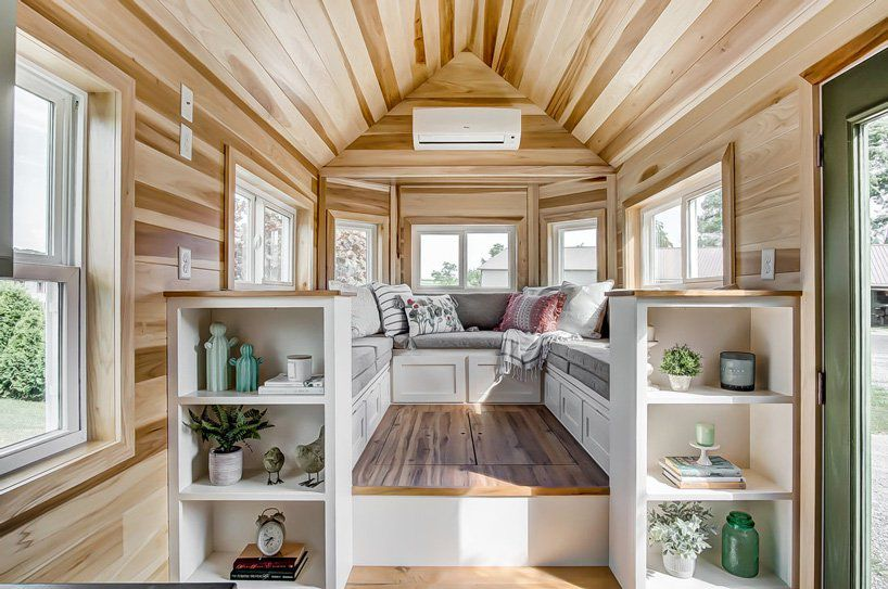 Raised seating area in tiny home