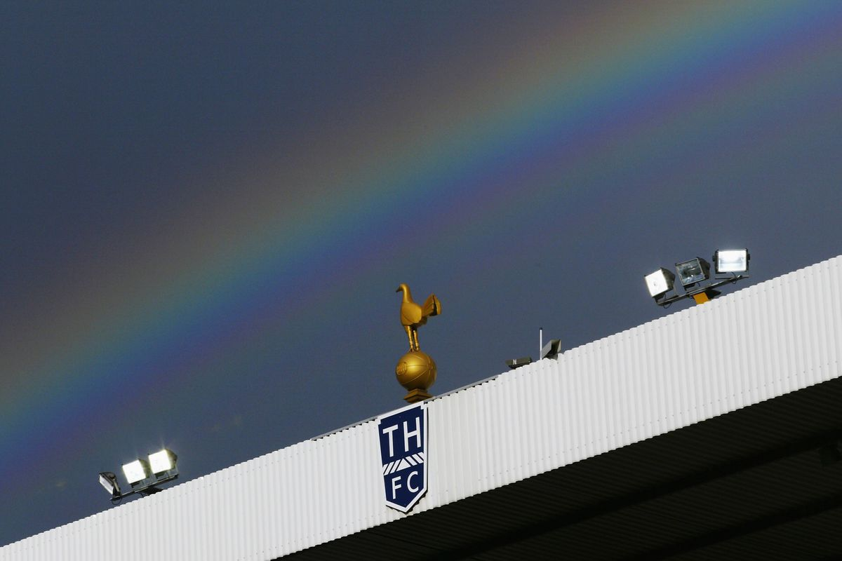 A view of a rainbow above White Hart Lane