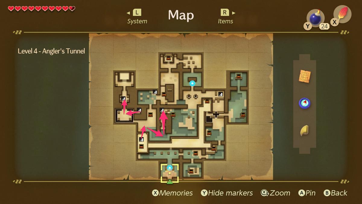 Link's Awakening Angler's Tunnelpath to the Angler Fish boss fight