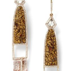 Fossilized dinosaur bone and hematite in quartz earrings with white diamond pavé, 18 carat recycled rose gold, 0.88 TCW $22,375