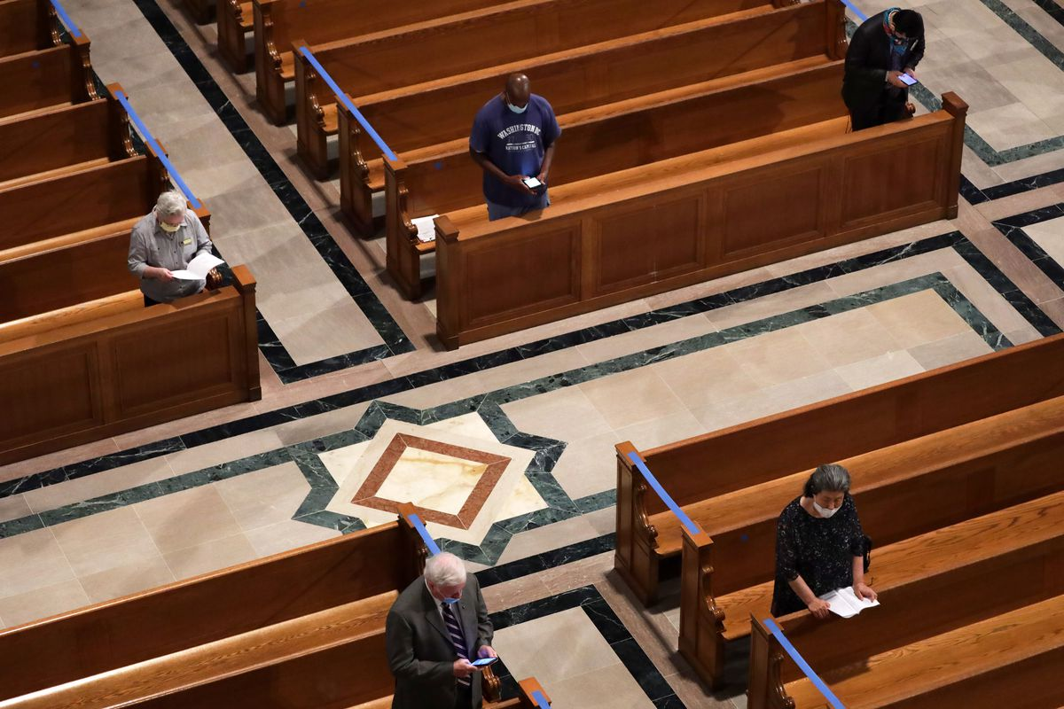 Worshippers at a mass at the Basilica of the National Shrine of the Immaculate Conception in Washington D.C. in 2020.