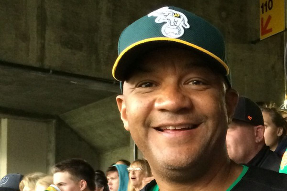 Oakland Port Commissioner and mayoral candidate Bryan Parker takes in a game at the Coliseum