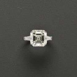 <strong>For March</strong>: Platinum and Diamond Ring set with an asscher-cut diamond weighing 6.04 carats; Estimate $45,000-$55,000; Image courtesy of Skinner