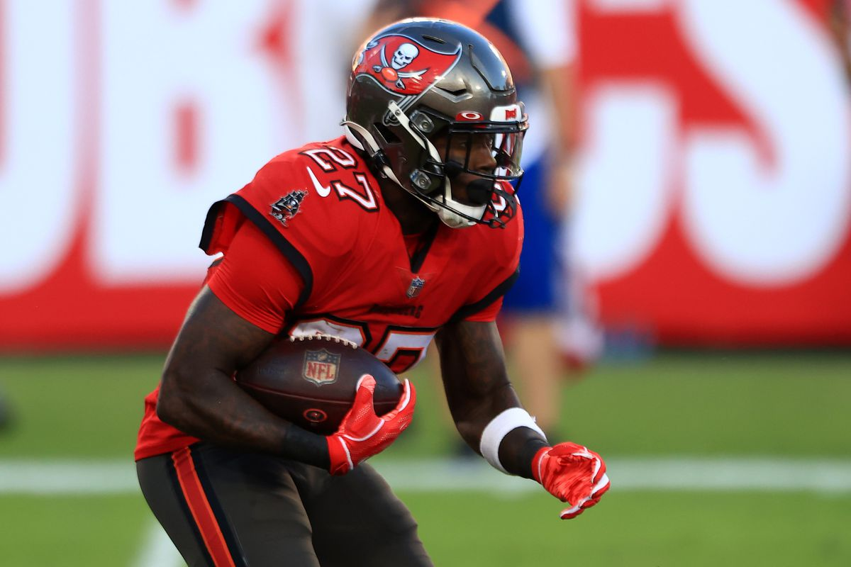Ronald Jones II #27 of the Tampa Bay Buccaneers carries the ball in the second quarter during their game against the Kansas City Chiefs at Raymond James Stadium on November 29, 2020 in Tampa, Florida.