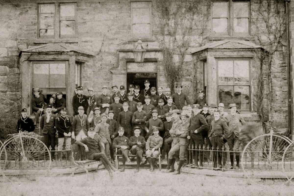 Members of the Anfield Bicycle Club gathered at the Glan Aber Hotel, Betws-y-Coed in the 1880s