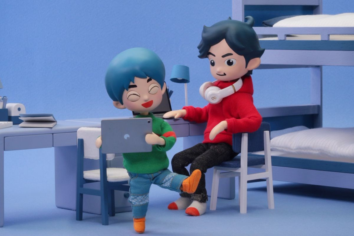 A stop motion still of two boys from the game Takeshi and Hiroshi
