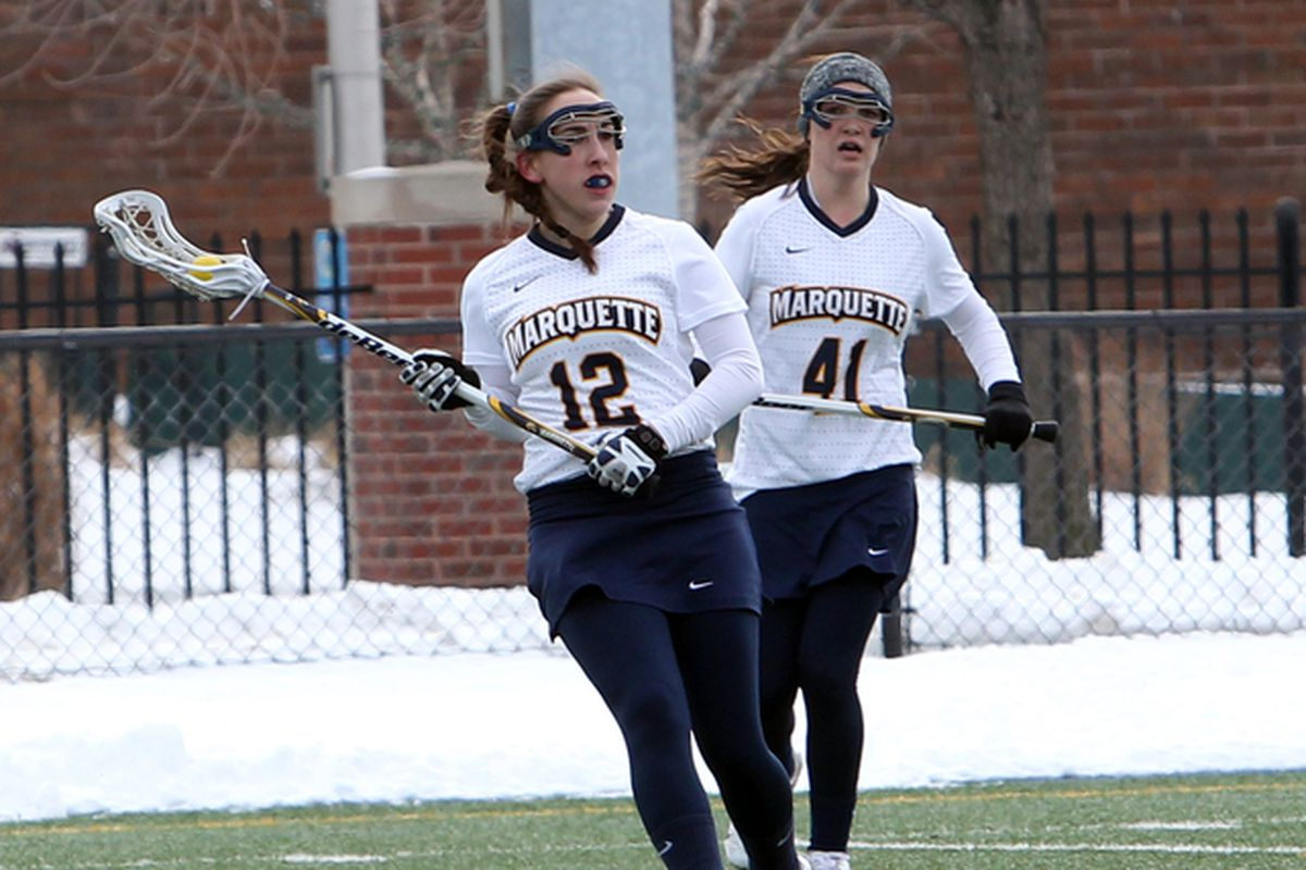 Claire Costanza (12) and Nicole Gleason (41) have turned into a formidable pairing on offense.