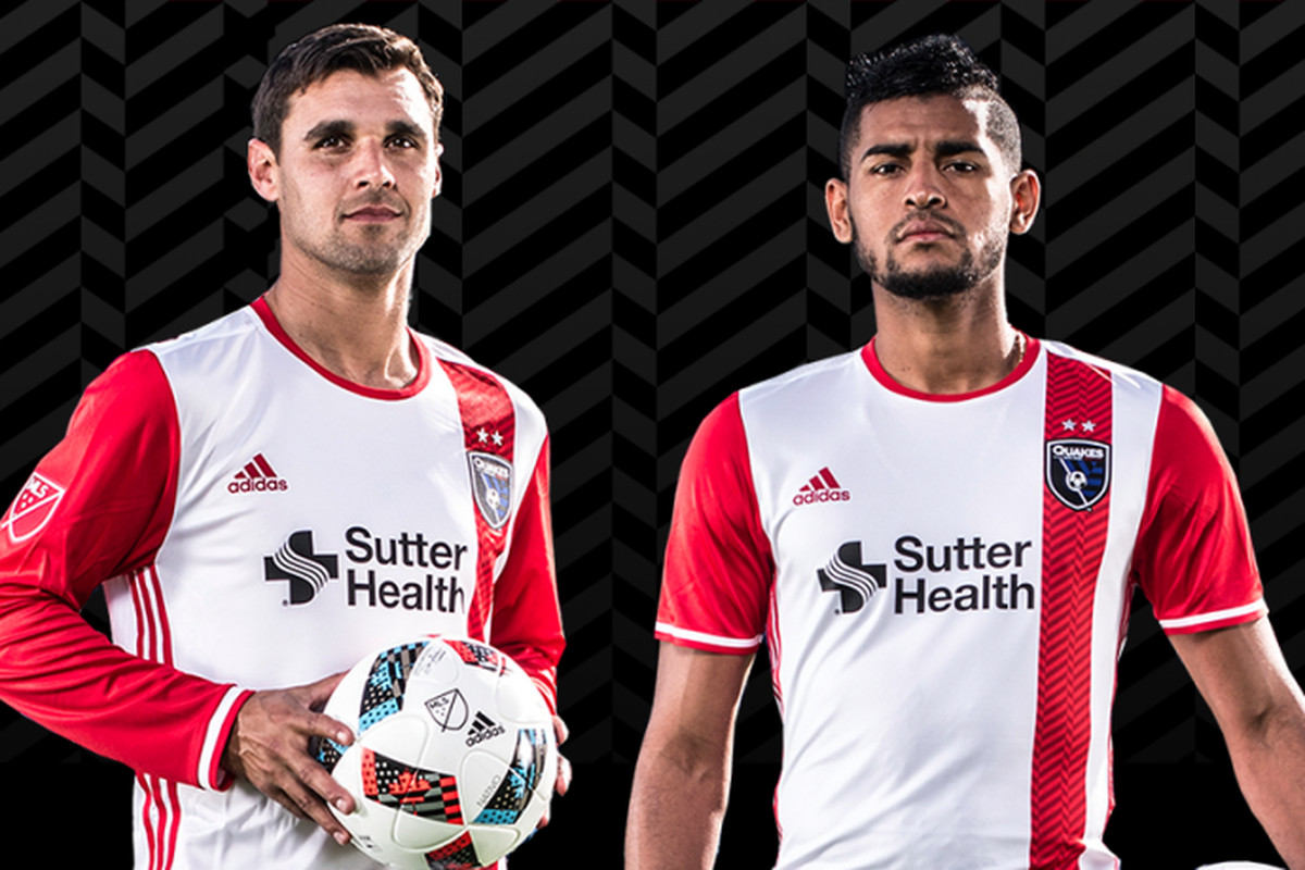 100% authentic 6a43c 05414 San Jose Earthquakes 2016 away jersey a mix of white and red ...