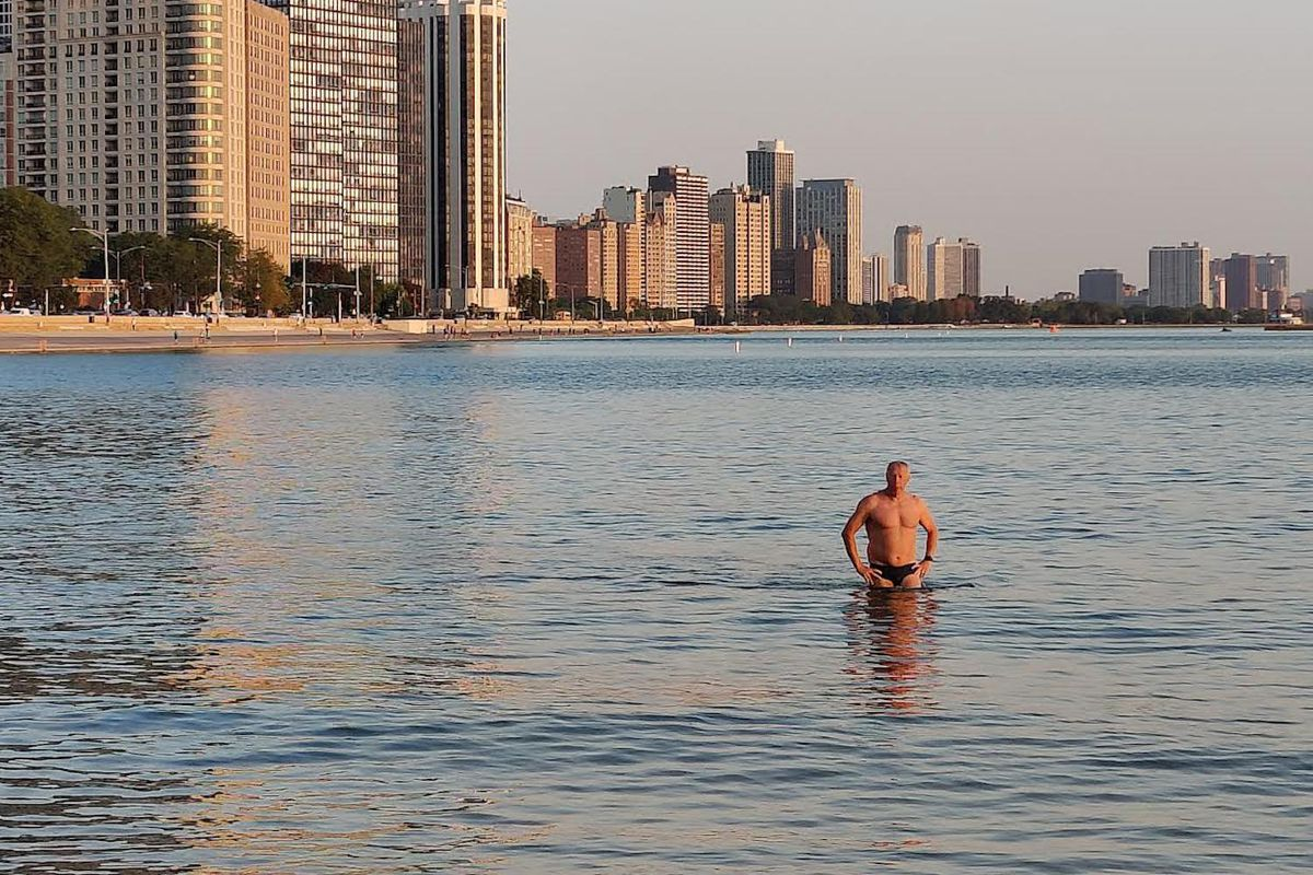 Champion swimmer George F. Wendt, 73, before the start of Saturday's Big Shoulders swim. His death during the race was ruled an accidental drowning, according to the Cook County medical examiner's office.