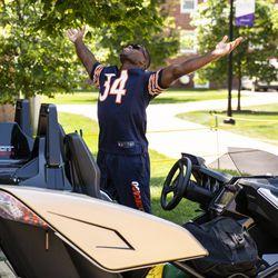 Chicago Bears' running back Tarik Cohen #29 drives a Polaris Slingshot as he arrives for training camp at Olivet Nazarene University in Bourbonnais, Thursday afternoon, July 25, 2019.
