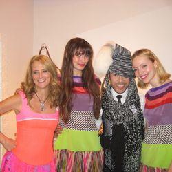 Nanette, Mondo Guerra and models wearing Mondo's dresses correctly.
