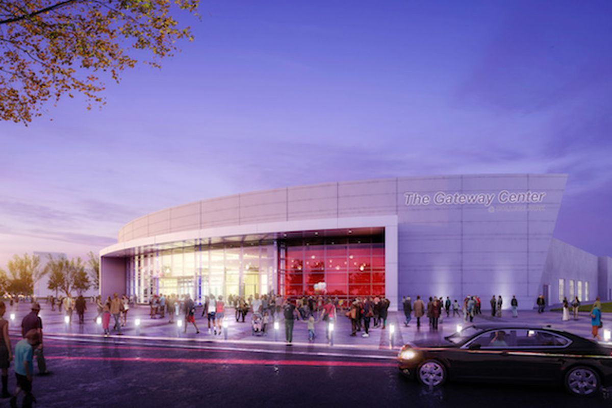 A rendering of the Gateway Center Arena's exterior in College Park.