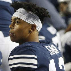 BYU wide receiver Micah Simon (13) watches the clock in Provo on Friday, Oct. 6, 2017.