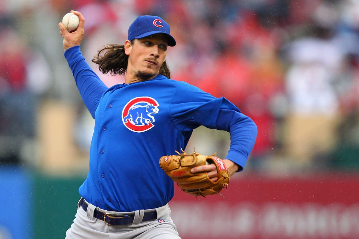 ST. LOUIS, MO - APRIL 13: Starter Jeff Samardzija #29 of the Chicago Cubs pitches against the St. Louis Cardinals during the home-opening game at Busch Stadium on April 13, 2012 in St. Louis, Missouri.  (Photo by Dilip Vishwanat/Getty Images)