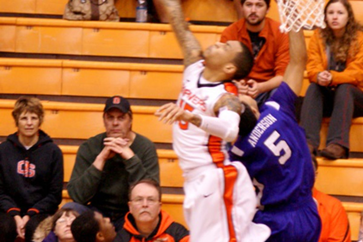 This happened a lot last night.  Eric Moreland and the Oregon State Beavers frustrate Kyan Anderson and the TCU Horned Frogs. Credit to Building the Dam for the image.