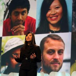 Tan Le, entrepreneur and Vietnamese refugee, gives her keynote speech at the RootsTech conference at the Salt Palace in Salt Lake City on Thursday, Feb. 12, 2015.