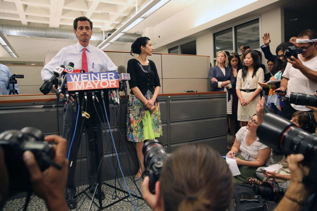 Anthony Weiner and Huma Abedin face the press in the documentary Weiner