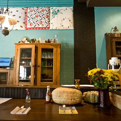 Antique cabinets abound in the space
