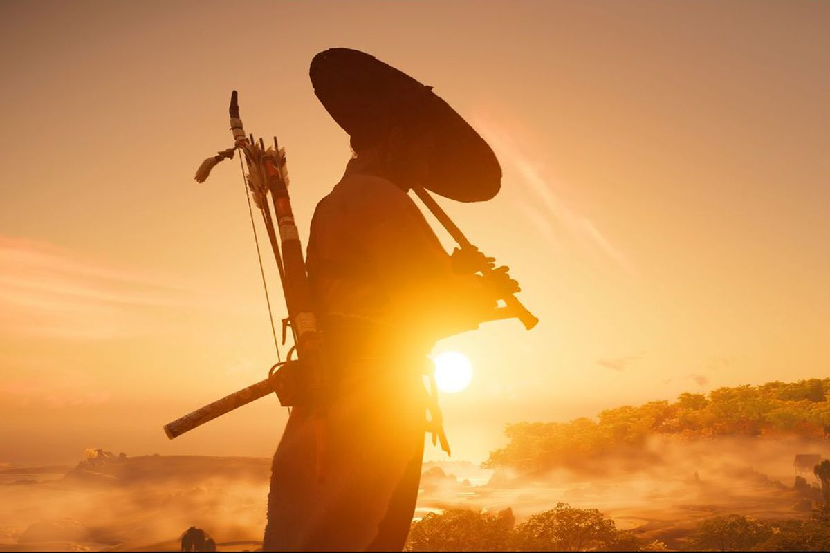Jin Saito practices his flute at sunrise in Ghost of Tsushima
