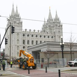Crews begin construction on a major, four-year renovation of the Salt Lake Temple in Salt Lake City on Thursday, Jan. 9, 2020.