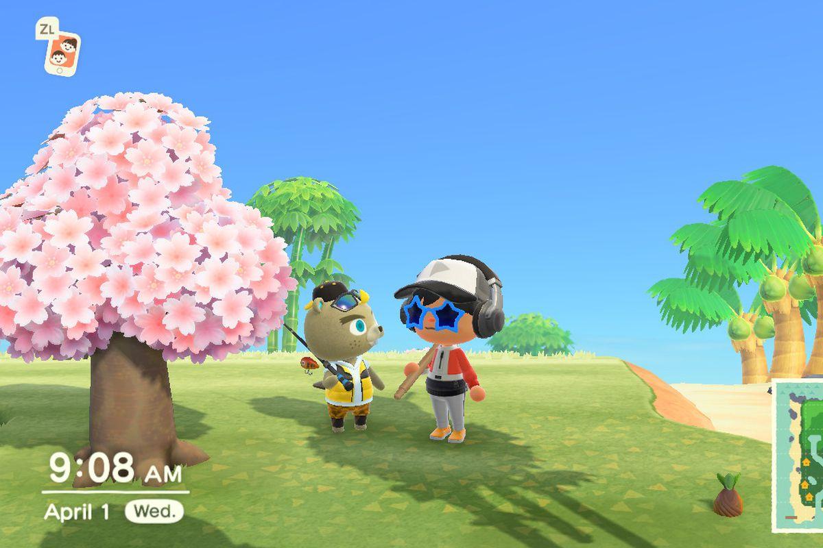 A villager standing next to C.J., Animal Crossing: New Horizon's fish vendor.