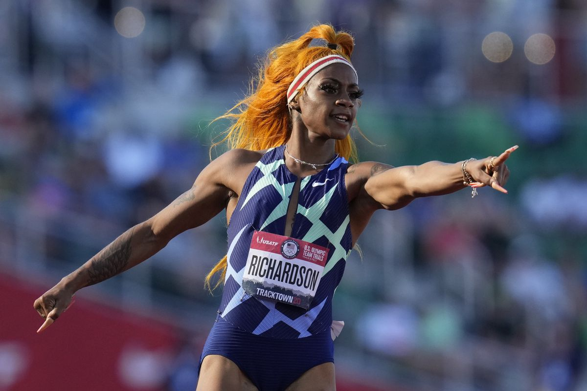 Sha'Carri Richardson after winning first heat of the semifinals in 100-meter run at the U.S. Olympic Track and Field Trials.