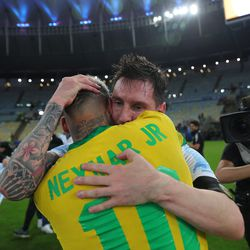 A hug from Neymar after the final whistle