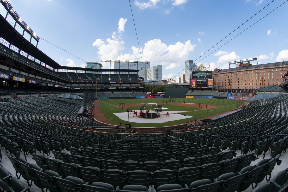 A general view of Washington Nationals batting practice before an exhibition game against the Baltimore Orioles at Oriole Park at Camden Yards.