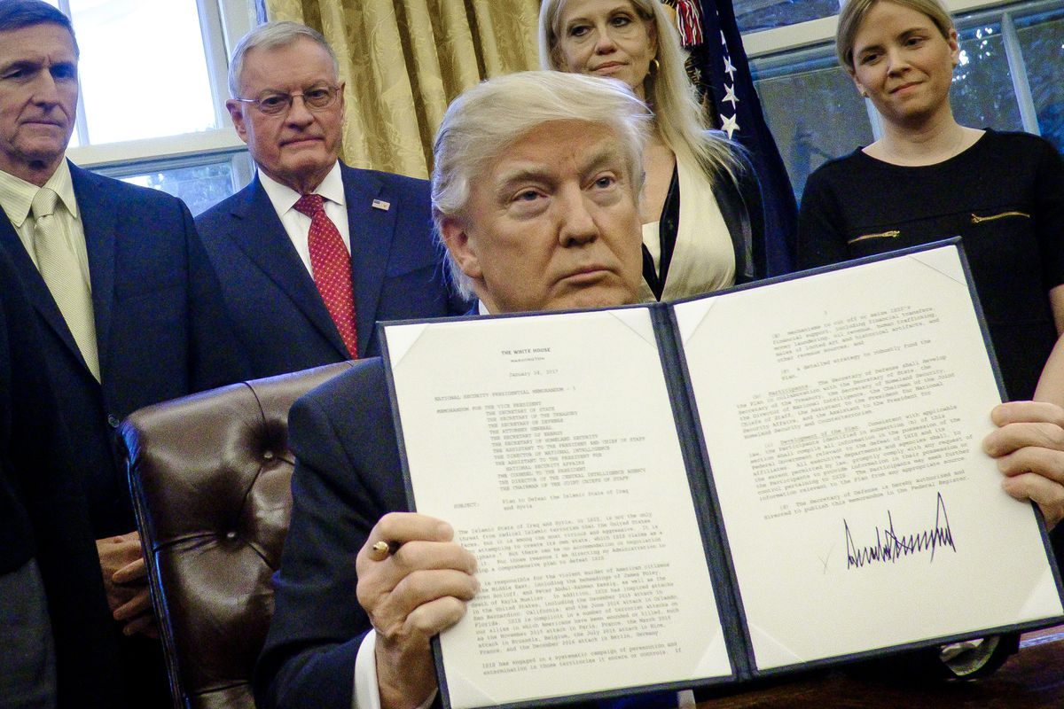 President Trump Signs Executive Orders In The Oval Office