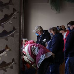 Visitors watch the sea lions at Utah's Hogle Zoo in Salt Lake City on Wednesday, March 31, 2021.