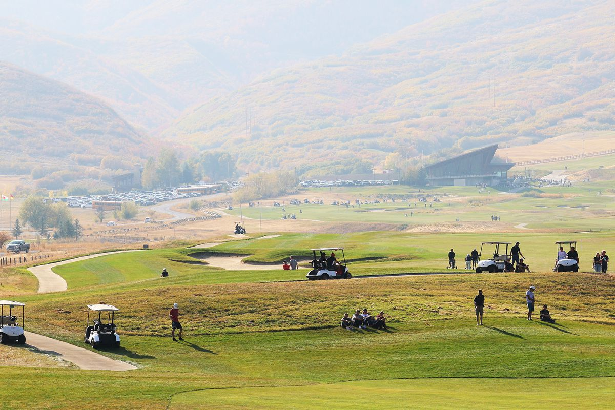 Golfers compete for the boys 5A state championship at Soldier Hollow in Midway on Tuesday, Oct. 6, 2020.