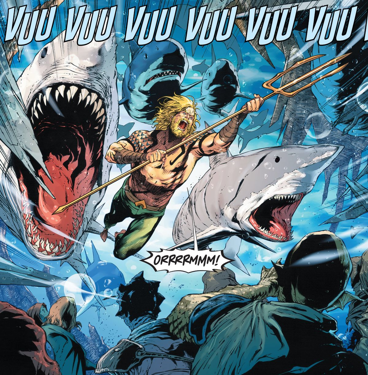 Roaring in rage, Aquaman leads an entire group of sharks through the seas, in Aquaman #59, DC Comics (2020).
