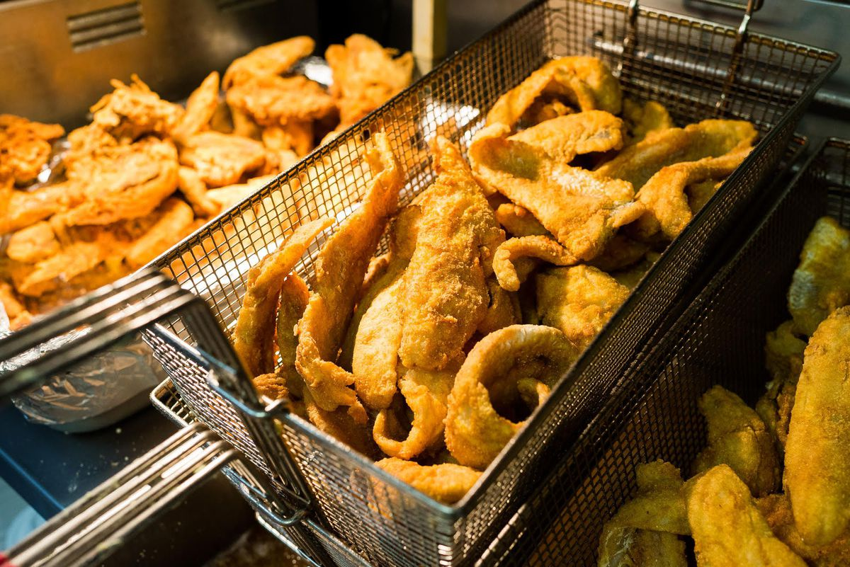 Fried whiting fresh out of the fryer from Horace and Dickie's