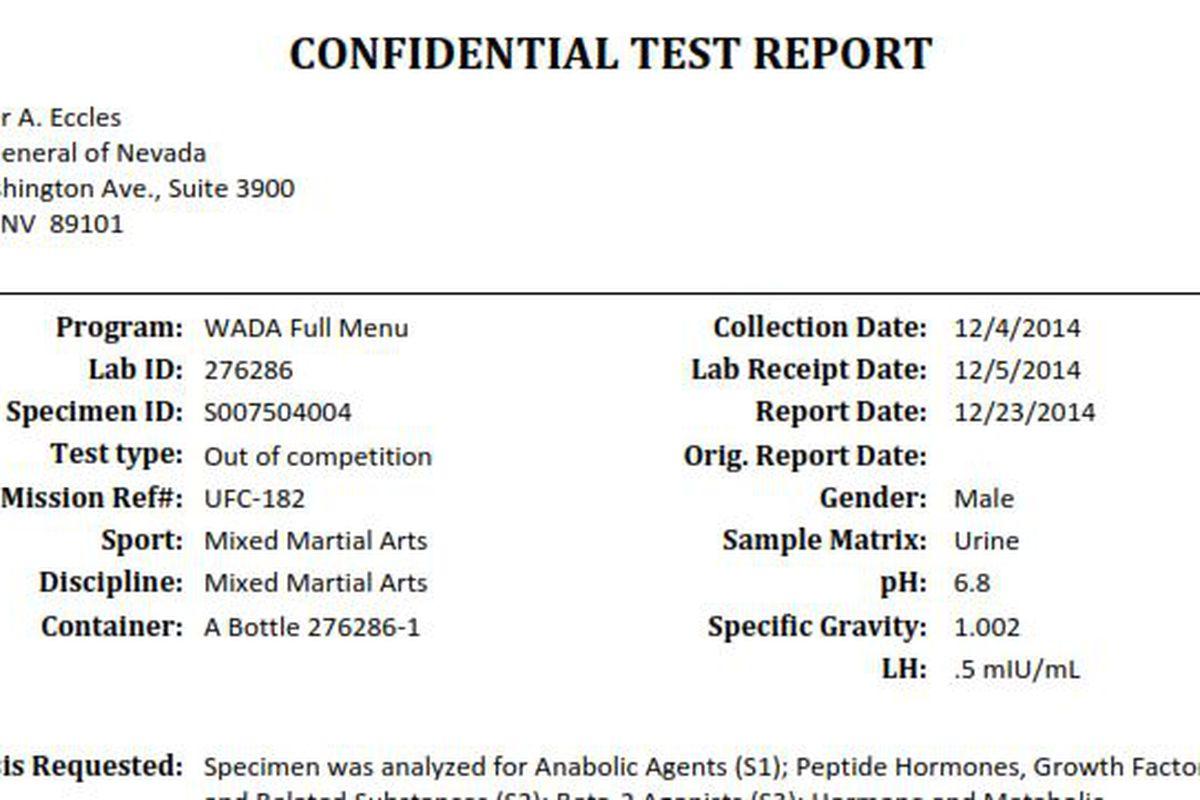 Jon Jones Dec 4 Drug Test Results From Nevada Athletic