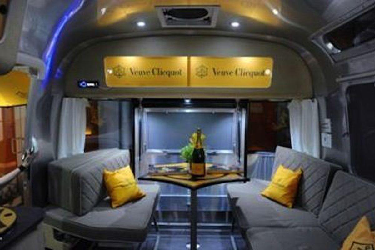 Inside the Veuve Clicquot Airstream.
