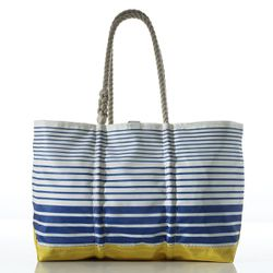 Made in Maine from recycled sails, these nautical tote bags feature lots of pockets for all the extras. If you're not into stripes, check out the wide selection of vintage insignia bags, or customize your own design.