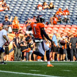 Broncos P Marquette King about to make contact during pre-game warmups.