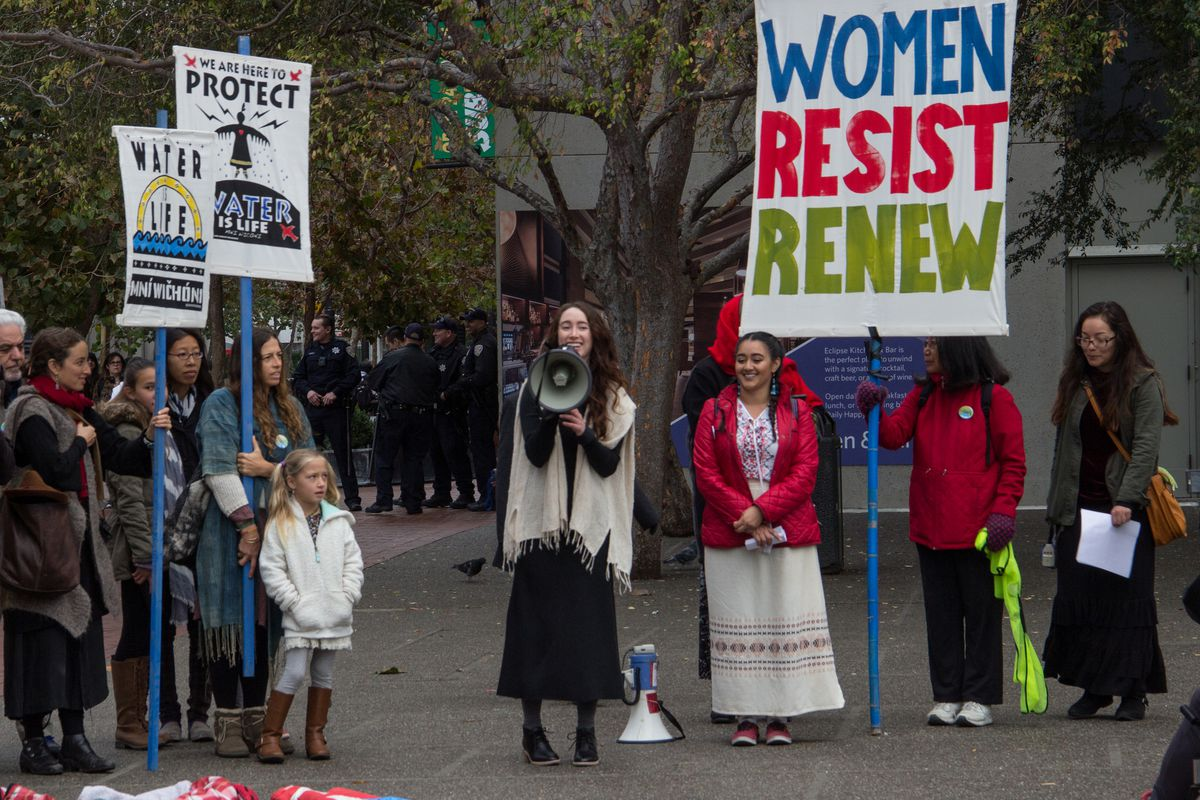 A protest in 2016 led by the women of Idle No More Bay Area.