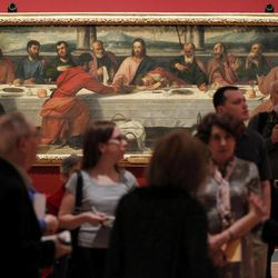 """Bonifacio De' Pitati's oil on canvas entitled """"The Last Supper"""" is displayed during a preview of """"Offering of the Angels: Treasures from the Uffizi Gallery"""" at the James A. Michener Museum, Friday, April 20, 2012, in Doylestown, Pa. The exhibit is scheduled to open Saturday."""