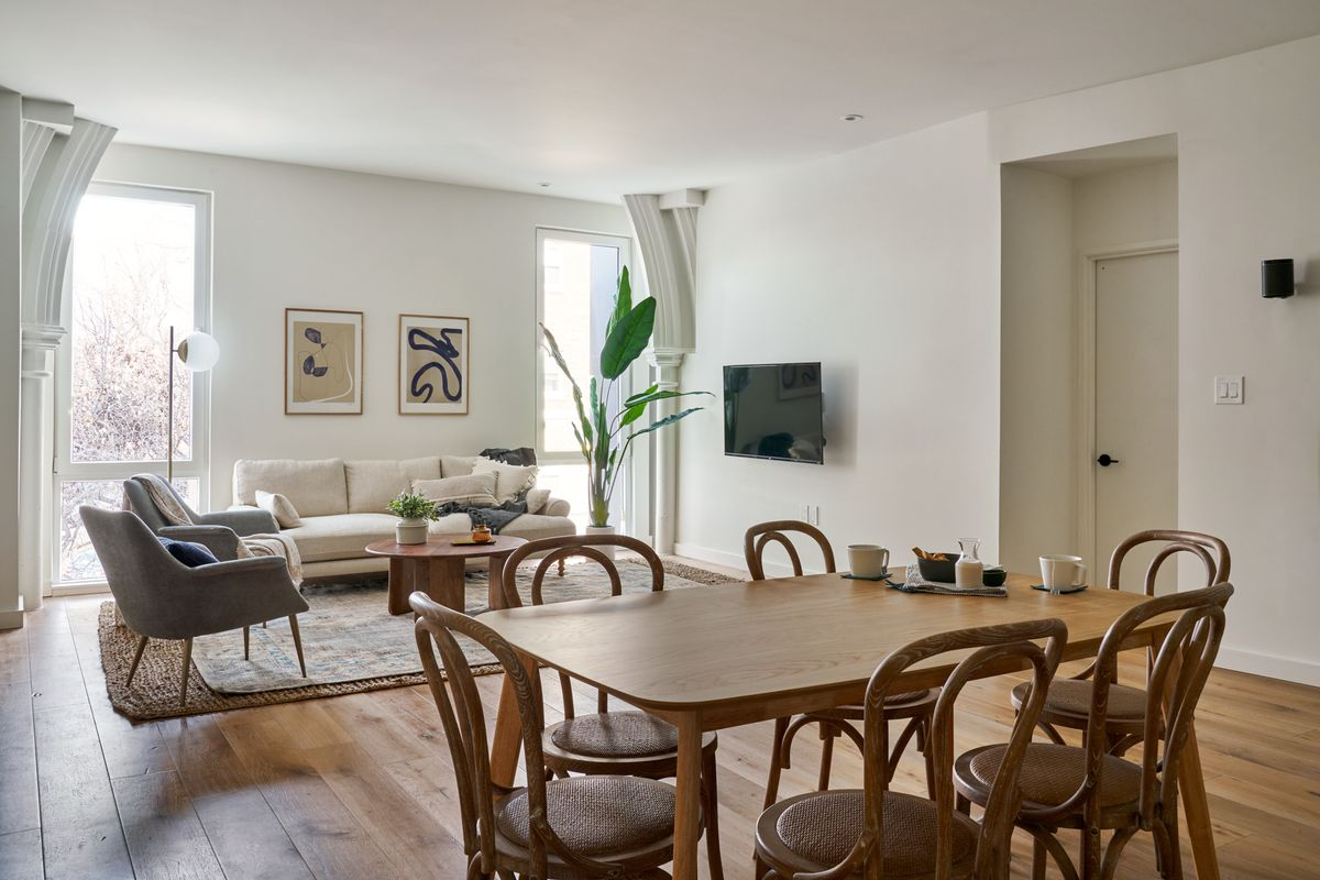 Dining room table in open plan share living space.
