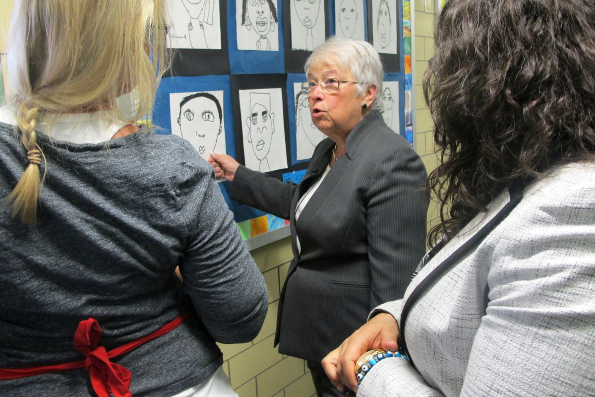 Chancellor Carmen Fariña on one of her hundreds of school visits.