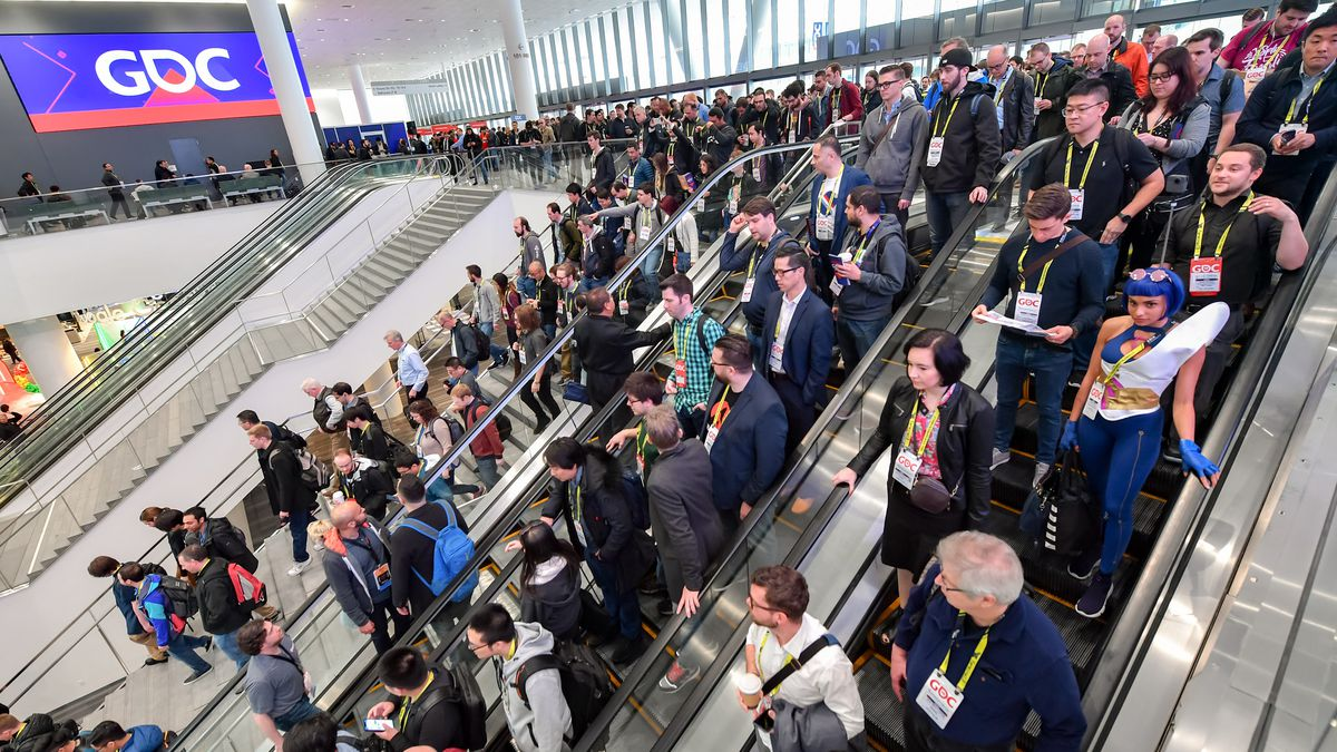 GDC attendees heading into the conference expo hall
