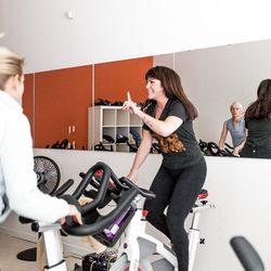 Rachel Aram teaches an indoor cycling class at her new Noe Valley studio.